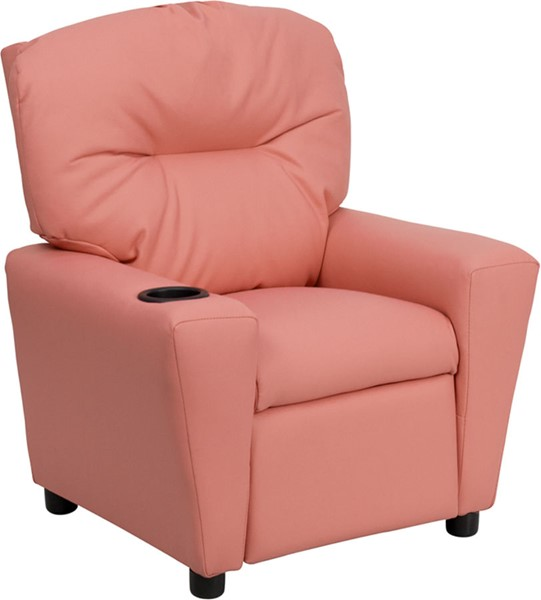 Flash Furniture Pink Vinyl Kids Recliner with Cup Holder FLF-BT-7950-KID-PINK-GG