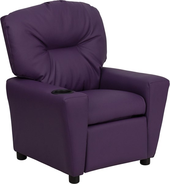 Flash Furniture Purple Vinyl Kids Recliner with Cup Holder FLF-BT-7950-KID-PUR-GG