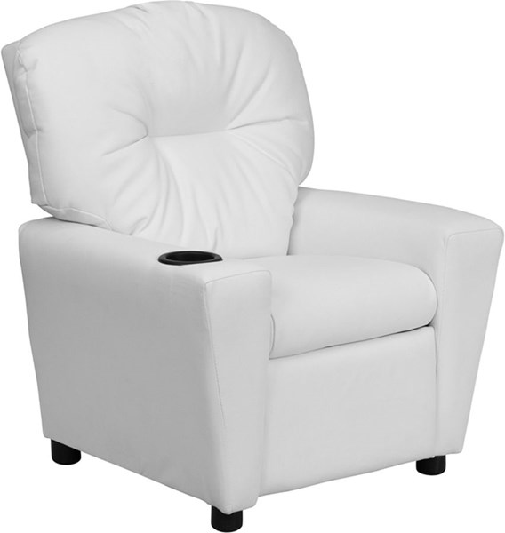 Flash Furniture White Vinyl Kids Recliner with Cup Holder FLF-BT-7950-KID-WHITE-GG