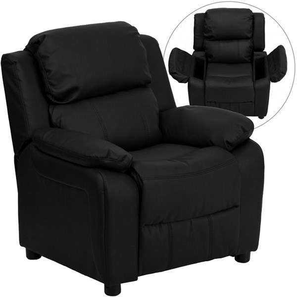 Deluxe Heavily Padded Black Leather Kids Recliner w/Storage Arms FLF-BT-7985-KID-BK-LEA-GG