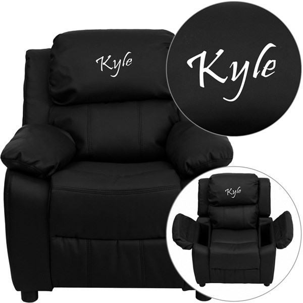 Personalized Deluxe Padded Black Leather Kids Recliner w/Storage Arms FLF-BT-7985-KID-BK-LEA-TXTEMB-GG