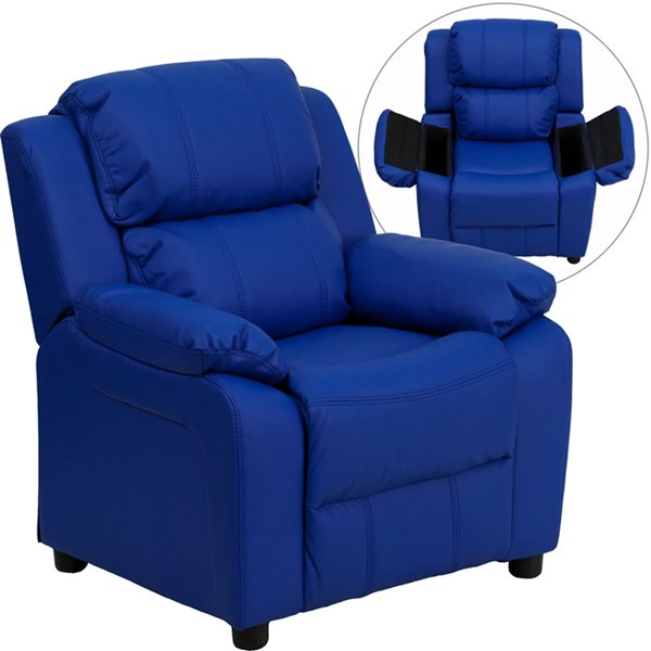 Deluxe Heavily Padded Blue Vinyl Kids Recliner w/Storage Arms FLF-BT-7985-KID-BLUE-GG