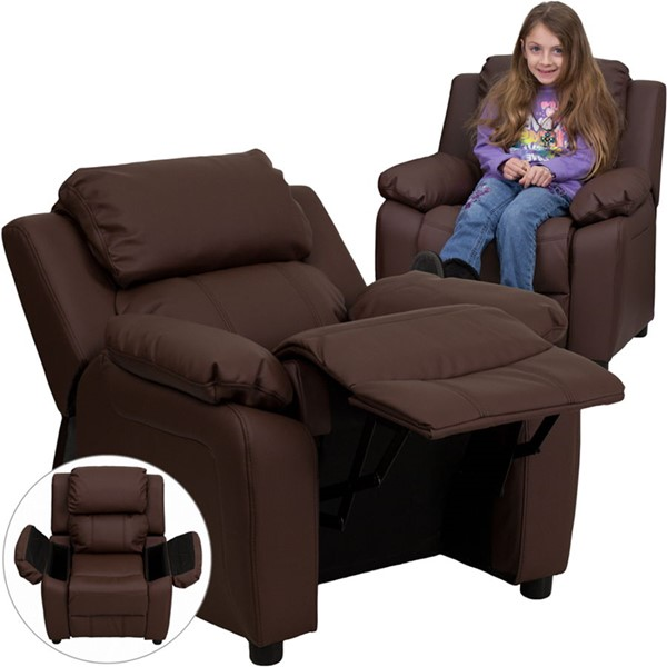 Flash Furniture Deluxe Heavily Padded Brown Leather Kids Recliner with Storage Arms FLF-BT-7985-KID-BRN-LEA-GG