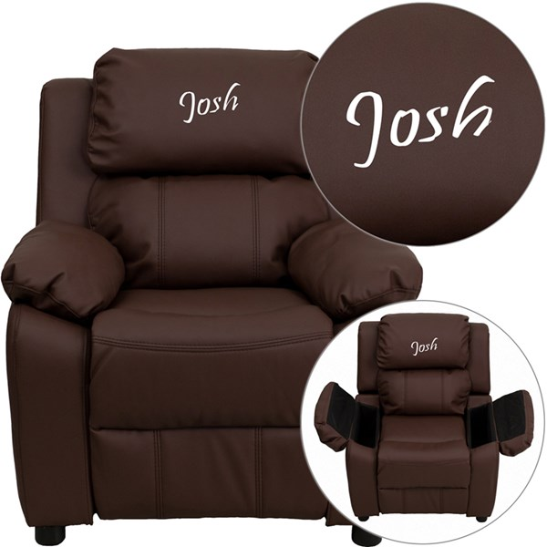 Personalized Deluxe Padded Leather Kids Recliner w/Storage Arms FLF-BT-7985-KID-TXTEMB-GG-REC-VAR