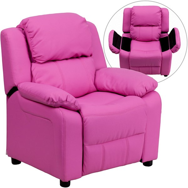 Flash Furniture Deluxe Heavily Padded Hot Pink Vinyl Kids Recliner with Storage Arms FLF-BT-7985-KID-HOT-PINK-GG