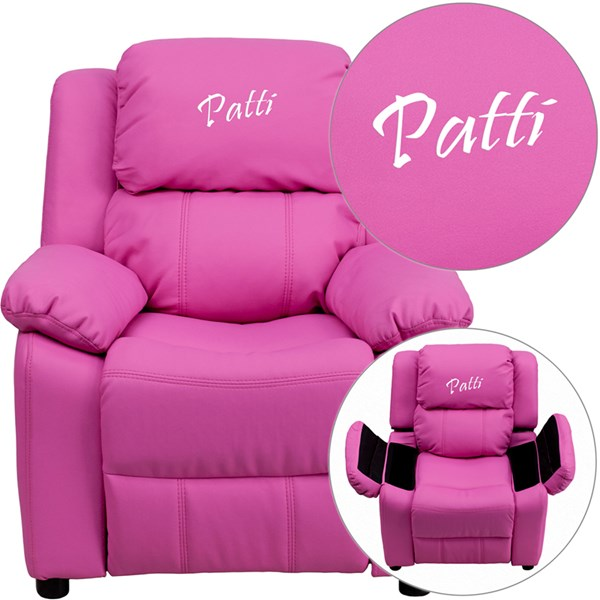 Personalized Deluxe Padded Hot Pink Vinyl Kids Recliner w/Storage Arms FLF-BT-7985-KID-HOT-PINK-TXTEMB-GG