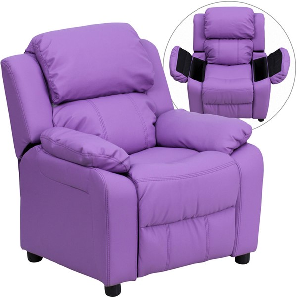 Flash Furniture Deluxe Heavily Padded Lavender Vinyl Kids Recliner with Storage Arms FLF-BT-7985-KID-LAV-GG