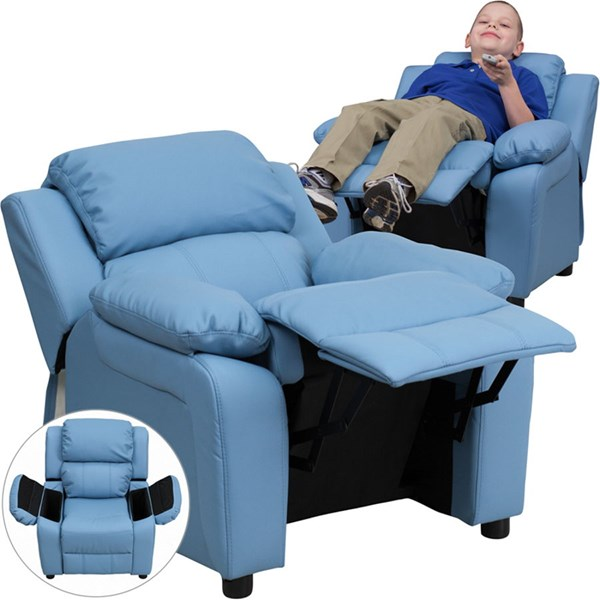 Flash Furniture Deluxe Heavily Padded Light Blue Vinyl Kids Recliner with Storage Arms FLF-BT-7985-KID-LTBLUE-GG