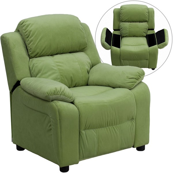Flash Furniture Deluxe Heavily Padded Avocado Microfiber Kids Recliner with Storage Arms FLF-BT-7985-KID-MIC-AVO-GG