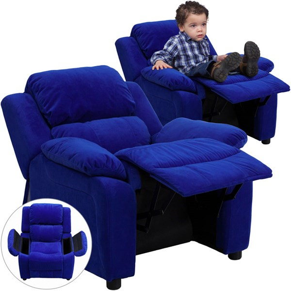 Flash Furniture Deluxe Heavily Padded Blue Microfiber Kids Recliner with Storage Arms FLF-BT-7985-KID-MIC-BLUE-GG