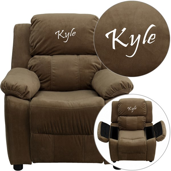 Personalized Deluxe Brown Microfiber Kids Recliner w/Storage Arms FLF-BT-7985-KID-MIC-BRN-TXTEMB-GG