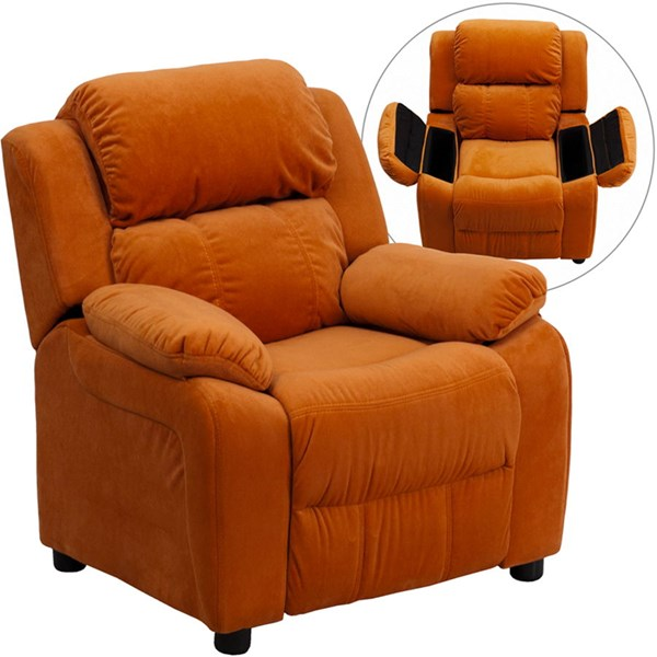 Flash Furniture Deluxe Heavily Padded Orange Microfiber Kids Recliner with Storage Arms FLF-BT-7985-KID-MIC-ORG-GG