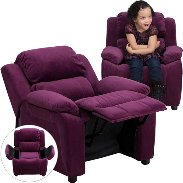 Deluxe Heavily Padded Purple Microfiber Kids Recliner w/Storage Arms FLF-BT-7985-KID-MIC-PUR-GG