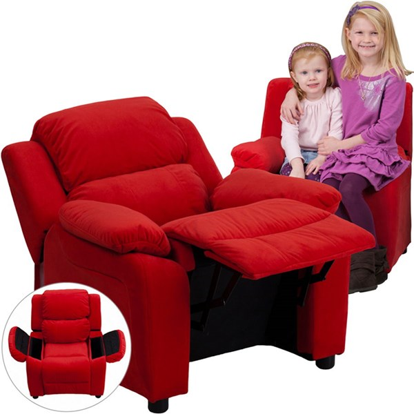 Flash Furniture Deluxe Heavily Padded Red Microfiber Kids Recliner with Storage Arms FLF-BT-7985-KID-MIC-RED-GG