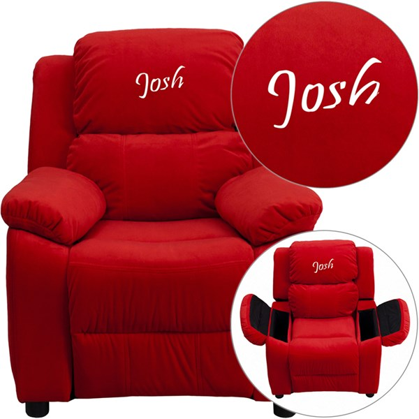 Personalized Deluxe Red Microfiber Kids Recliner w/Storage Arms FLF-BT-7985-KID-MIC-RED-TXTEMB-GG
