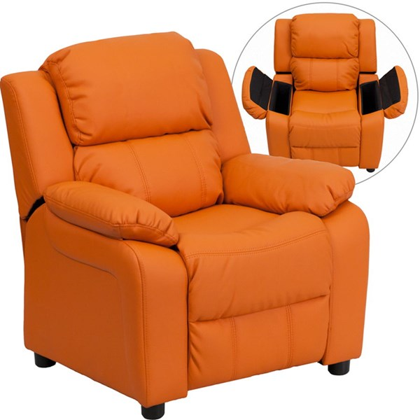 Deluxe Heavily Padded Orange Vinyl Kids Recliner w/Storage Arms FLF-BT-7985-KID-ORANGE-GG