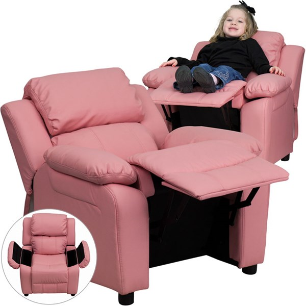 Deluxe Heavily Padded Pink Vinyl Kids Recliner w/Storage Arms FLF-BT-7985-KID-PINK-GG