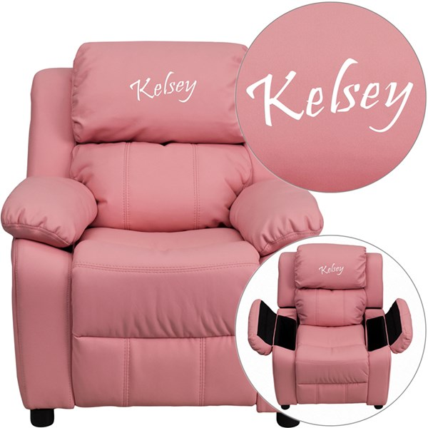Personalized Deluxe Padded Pink Vinyl Kids Recliner w/Storage Arms FLF-BT-7985-KID-PINK-TXTEMB-GG
