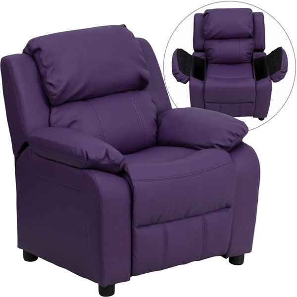 Deluxe Heavily Padded Purple Vinyl Kids Recliner w/Storage Arms FLF-BT-7985-KID-PUR-GG