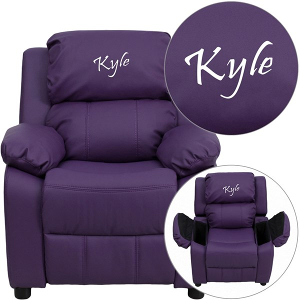 Personalized Deluxe Padded Purple Vinyl Kids Recliner w/Storage Arms FLF-BT-7985-KID-PUR-TXTEMB-GG