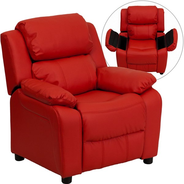 Deluxe Heavily Padded Red Vinyl Kids Recliner w/Storage Arms FLF-BT-7985-KID-RED-GG