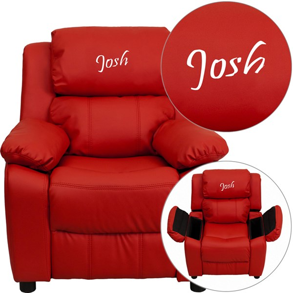 Personalized Deluxe Padded Red Vinyl Kids Recliner w/Storage Arms FLF-BT-7985-KID-RED-TXTEMB-GG