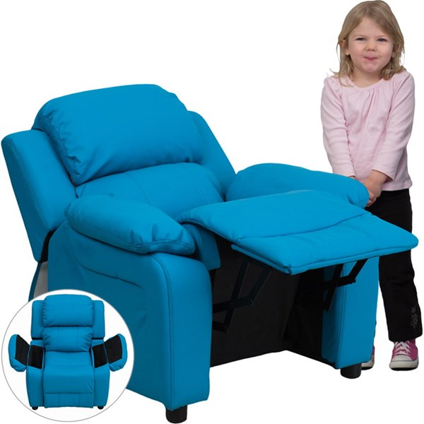 Deluxe Heavily Padded Turquoise Vinyl Kids Recliner w/Storage Arms FLF-BT-7985-KID-TURQ-GG
