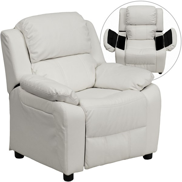 Flash Furniture Deluxe Heavily Padded White Vinyl Kids Recliner with Storage Arms FLF-BT-7985-KID-WHITE-GG