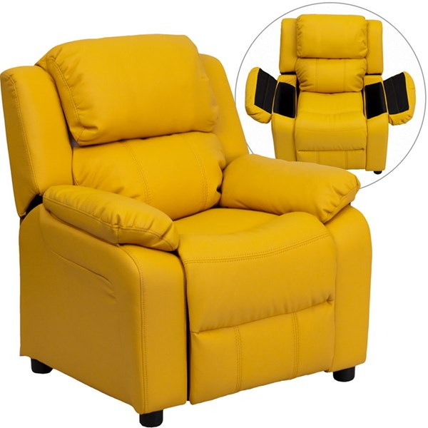 Deluxe Heavily Padded Yellow Vinyl Kids Recliner w/Storage Arms FLF-BT-7985-KID-YEL-GG