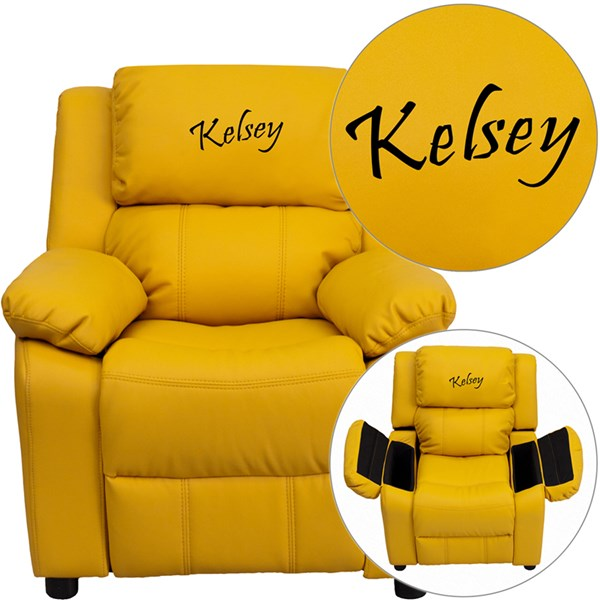 Personalized Deluxe Padded Yellow Vinyl Kids Recliner w/Storage Arms FLF-BT-7985-KID-YEL-TXTEMB-GG