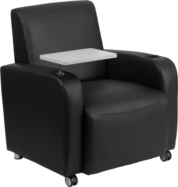 Flash Furniture Black Leather Guest Chair with Tablet Arm Front FLF-BT-8217-BK-CS-GG