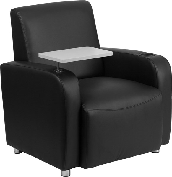 Black Leather Guest Chair w/Tablet Arm Chrome Legs & Cup Holder FLF-BT-8217-BK-GG