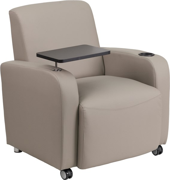 Flash Furniture Gray Leather Guest Chair with Tablet Arm Front FLF-BT-8217-GV-CS-GG