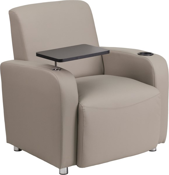 Flash Furniture Gray Leather Guest Chair with Tablet Arm Chrome Legs and Cup Holder FLF-BT-8217-GV-GG