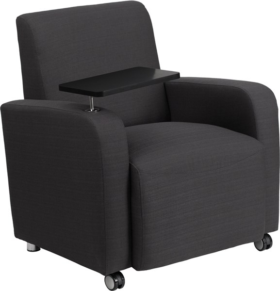 Gray Fabric Guest Chair w/Tablet Arm and Front Wheel Casters FLF-BT-8217-GY-CS-GG