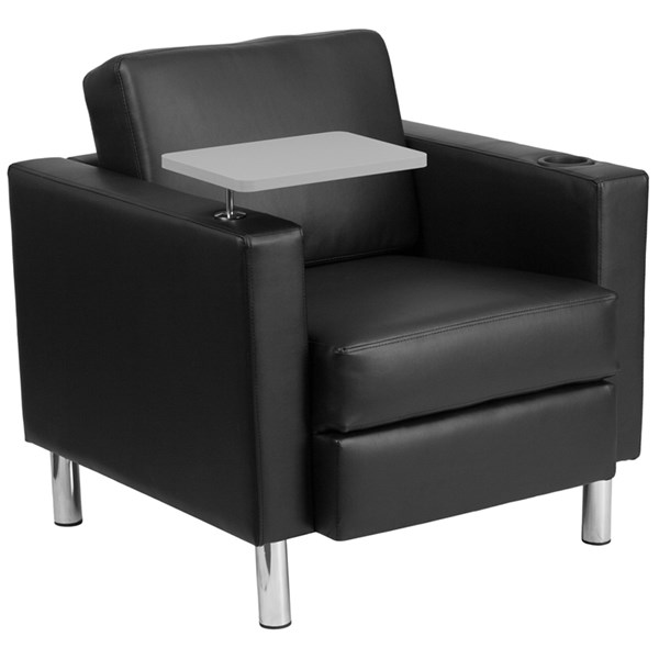 Flash Furniture Black Leather Guest Chair with Tablet Arm Tall Chrome Legs and Cup Holder FLF-BT-8219-BK-GG