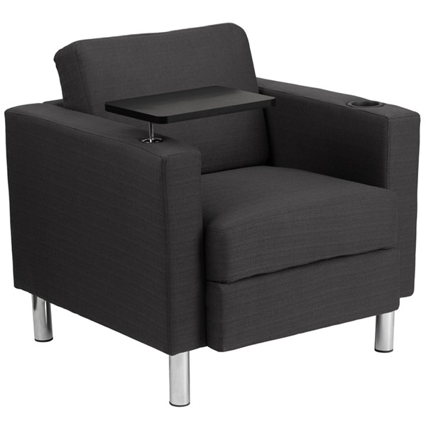 Flash Furniture Gray Fabric Guest Chair with Tablet Arm Chrome Legs and Cup Holder FLF-BT-8219-GY-GG