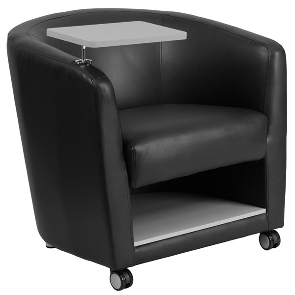 Flash Furniture Black Leather Guest Chair with Tablet Arm Casters and Under Seat Storage FLF-BT-8220-BK-CS-GG