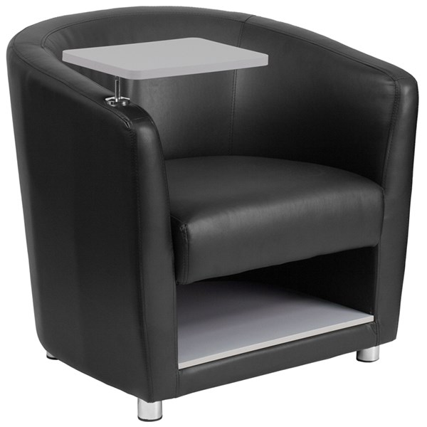Flash Furniture Black Leather Guest Chair with Tablet Arm Chrome Leg and Under Seat Storage FLF-BT-8220-BK-GG