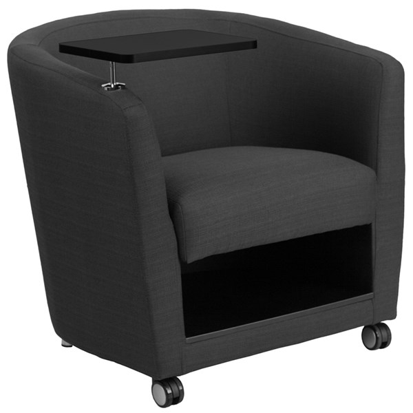 Flash Furniture Charcoal Gray Fabric Guest Chair with Tablet Arm and Casters FLF-BT-8220-GY-CS-GG