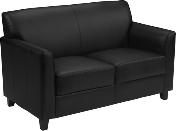 Hercules Diplomat Contemporary Black Brown Leather Wood Loveseat FLF-BT-827-loveseat