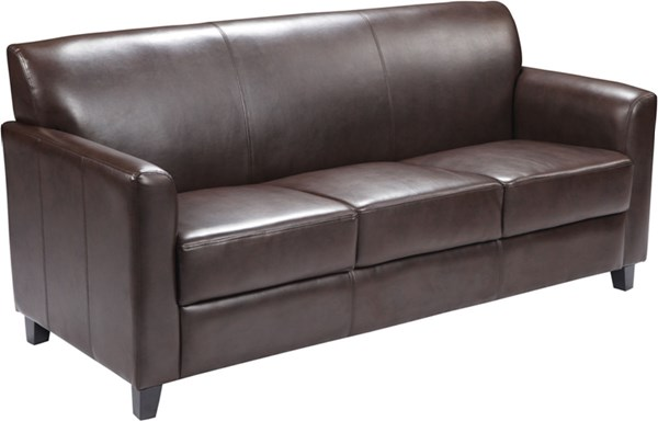 Hercules Diplomat Series Contemporary Brown Leather Wood Sofa FLF-BT-827-3-BN-GG