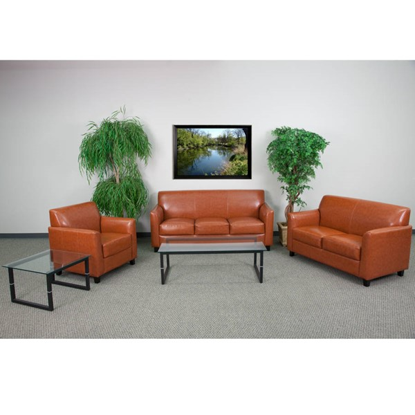 Flash Furniture Hercules Diplomat Cognac 3pc Reception Set FLF-BT-827-SET-CG-GG