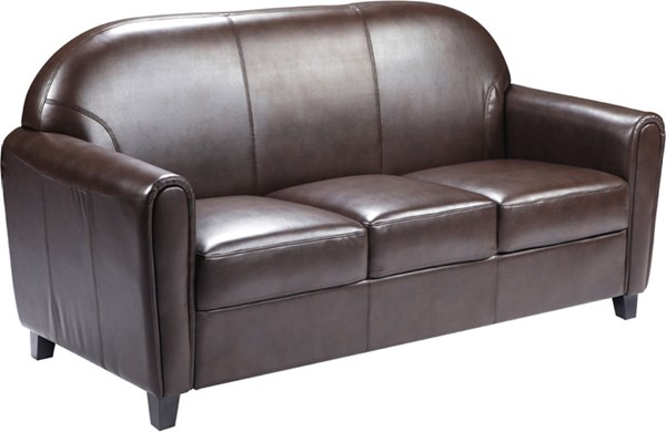 HERCULES Envoy Series Brown Leather Sofa FLF-BT-828-3-BN-GG