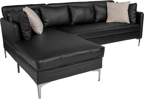 Flash Furniture Back Bay Black L Shape Sectional FLF-BT-8377-SET-BK-GG