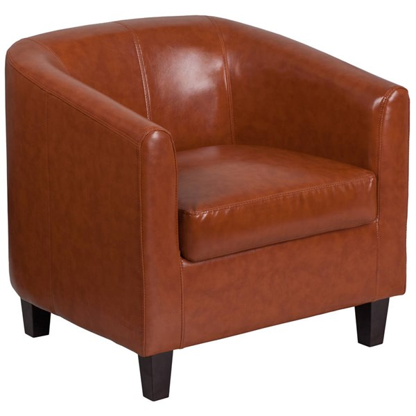 Flash Furniture Cognac Leather Recessed Arms and Cushion Back Lounge Chair FLF-BT-873-CG-GG