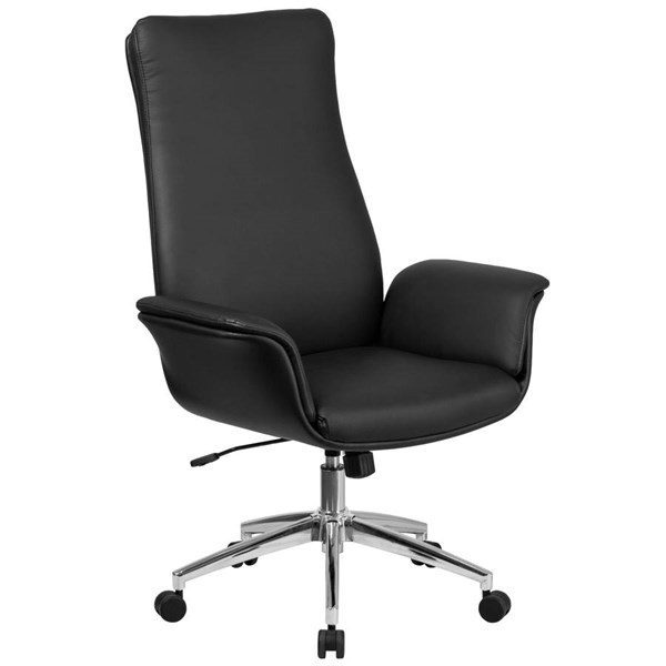 Flash Furniture Black Leather Executive Swivel Chair with Flared Arms FLF-BT-88-BK-GG
