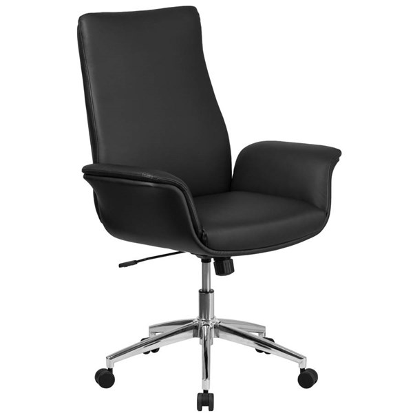 Flash Furniture Mid Back Black Leather Executive Swivel Chair with Flared Arms FLF-BT-88-MID-BK-GG