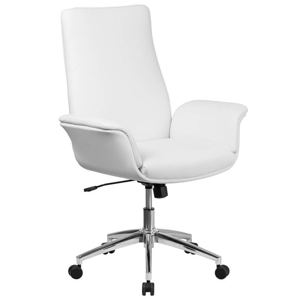 Flash Furniture Mid Back White Leather Executive Swivel Chair with Flared Arms FLF-BT-88-MID-WH-GG