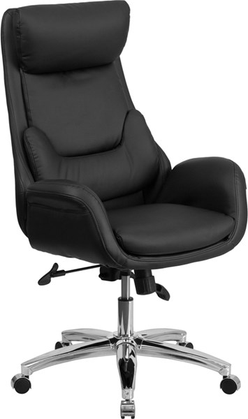 High Back Black Leather Executive Swivel Office Chair w/Lumbar Pillow FLF-BT-90027OH-GG